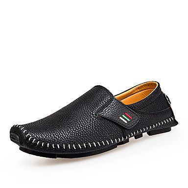 Men's Shoes PU / Cowhide / Leather Spring / Fall Driving Shoes / Moccasin / Comfort Loafers & Slip-Ons White / Black / Navy Blue