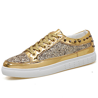 Men's Shoes Faux Leather Spring / Summer / Fall Comfort Sneakers Gold / Black / Silver