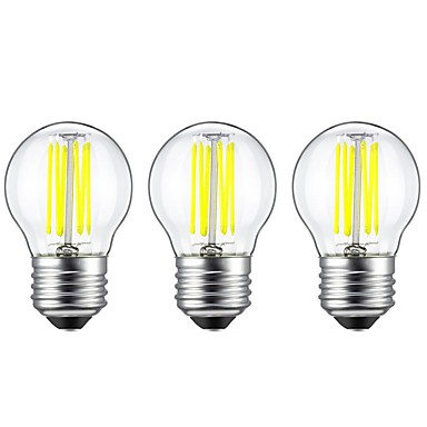 3pcs 6W 560 lm E27 LED Filament Bulbs G45 6 leds COB Decorative Warm White White AC 220-240V