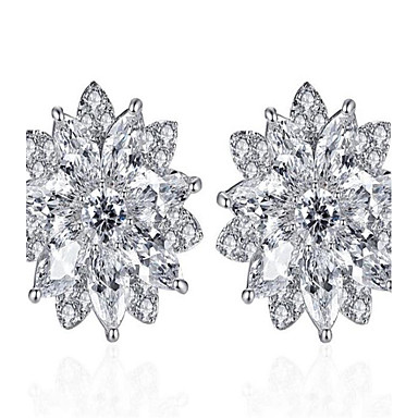 Women's Drop Earrings Cubic Zirconia Fashion Alloy Flower Jewelry For Wedding Anniversary Party/Evening Festival