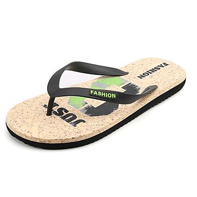 Homens sapatos Couro Ecológico Primavera Outono Conforto Sandálias para Ao ar livre Preto Azul Castanho Escuro