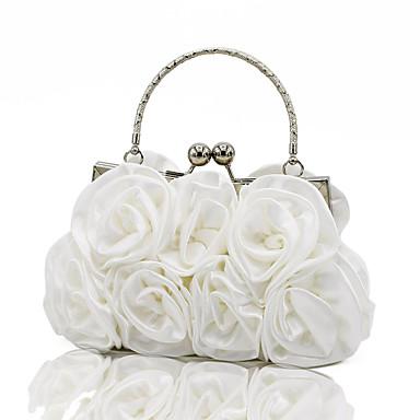 Women's Bags Silk Evening Bag MiniSpot / Ruffles / Chain Silver / Red / Apricot / Wedding Bags