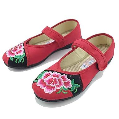 Mulheres Sapatos Tecido Primavera Outono Conforto Rasos Sem Salto Ponta Redonda Colchete Flor para Casual Social Preto Vermelho