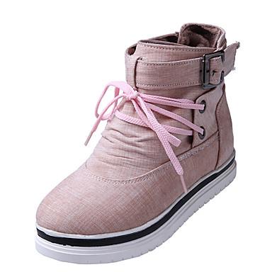 Mulheres Sapatos Courino Inverno Outono Conforto Botas Caminhada Salto Plataforma Ponta Redonda Botas Curtas / Ankle Presilha para Casual