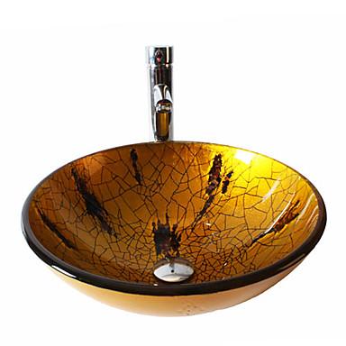 Moderna Redondo material dissipador é Vidro Temperado Pia de Banheiro Torneira de Banheiro Anél de Instalação de Banheiro Dreno de