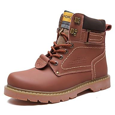 Herre sko Egte Lær Vinter Høst Kampstøvler Støvler Gange Støvletter Til Avslappet Gul Mørkebrun Lysebrun