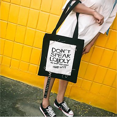 Women Shoulder Bag Canvas All Seasons Casual Shopper Without Zipper Blue Black Blushing Pink Dark Green