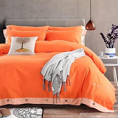 Solid 4 Piece Cotton Solid Cotton 1pc Duvet Cover 2pcs Shams 1pc Flat Sheet