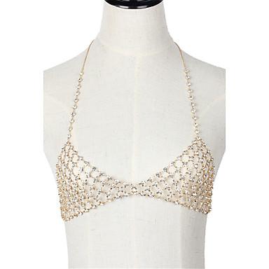 Mulheres Bijuteria de Corpo Cadeia corpo / Cadeia de barriga Metalic Cristal Dourado Forma Geométrica Confeccionada à Mão Hip-Hop Fashion