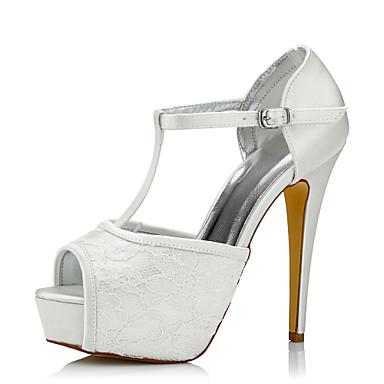 Sapatos femininos ador® seda / tule primavera / outono saltos conforto salto agulha salto alto redondo / peep toe marfim / casamento / festa& tarde