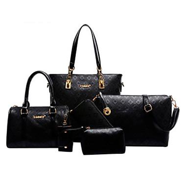 저렴한 가방-여성용 가방 세트 가방 세트 소가죽 5 개 지갑 세트 베이지 / 블루 / 라이트 브라운