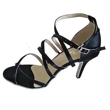 Mulheres Sapatos de Dança Latina Seda Cetim Sandália Interior Salto Personalizado Preto Personalizável