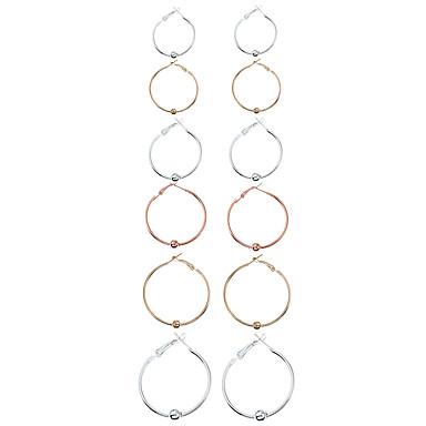 Mulheres Parte de Trás do Brinco Brincos em Argola Circular Euramerican Fashion Liga de Metal Metal Liga Formato Circular Forma Geométrica