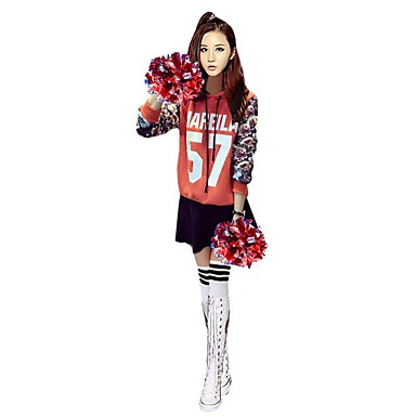 Cheerleader Costumes Outfits Women's Performance Polyester Pattern/Print 2 Pieces Long Sleeve High Skirts Tops