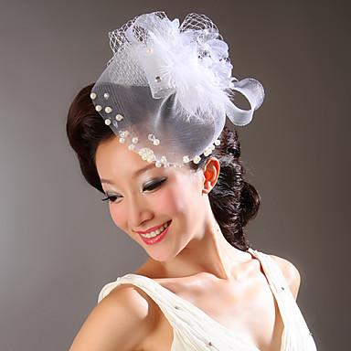 imitação de pérolas de penas de rede de flores de cabeça clássica estilo feminino
