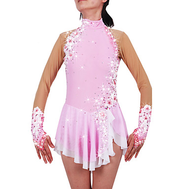 Figure Skating Dress Women's / Girls' Ice Skating Dress Pale Pink Spandex Rhinestone / Appliques High Elasticity Performance Skating Wear
