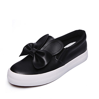 Women's Loafers & Slip-Ons Comfort Novelty Fall Leatherette Casual Outdoor Bowknot Flat Heel White Black Flat