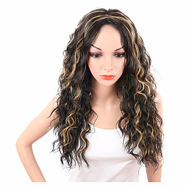 Synthetic Hair Wigs Curly African American Wig Capless Natural Wigs Medium Black