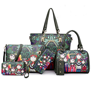 Women Bags All Seasons PU Bag Set with Rivet Zipper for Event/Party Formal Office & Career Green