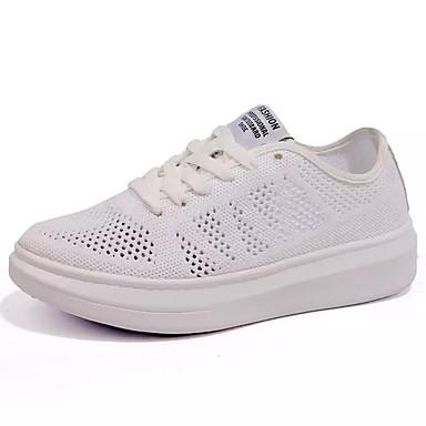Mulheres Sapatos Tule Primavera Verão Conforto Tênis Caminhada Sem Salto Ponta Redonda Cadarço para Casual Branco Preto Verde