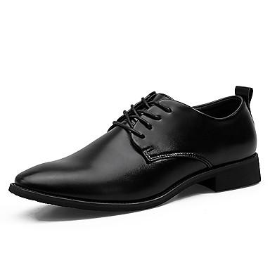 Homens sapatos Couro Primavera Outono Sapatos formais Conforto Oxfords Cadarço para Casamento Casual Festas & Noite Preto