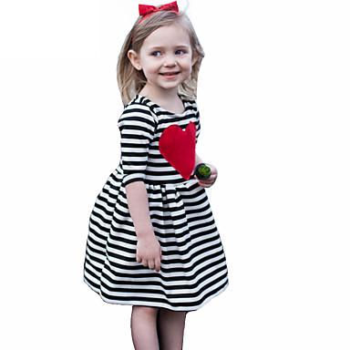 Girl's Striped Dress, Cotton Summer Fall 3/4 Length Sleeves Stripes Black