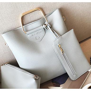 Women's Bags PU(Polyurethane) Shoulder Bag 3 Pcs Purse Set Red / Gray / Brown