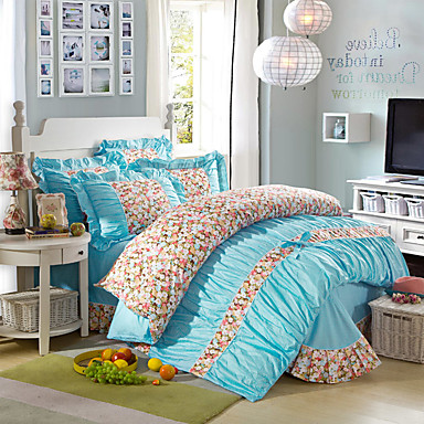 Bettbezug-Sets Blumen 4 Stück 100% Baumwolle Reaktivdruck 100% Baumwolle 1 Stk. Bettdeckenbezug 2 Stk. Kissenbezüge 1 Stk. Betttuch