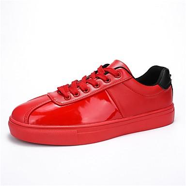 Férfi cipő PU Tél Ősz Kényelmes Tornacipők Fűző mert Hétköznapi Piros Fekete/Vörös Fekete és sárga