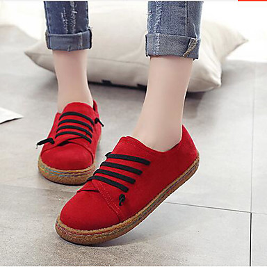Damen Loafers & Slip-On Komfort Frühling Nubukleder Normal Grau Rot Khaki Flach