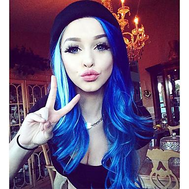 povoljno Perike i ekstenzije-Prednja perika od sintetičkog čipke Wavy Stil Lace Front Perika Navy Plava Sintentička kosa Žene Prirodna linija za kosu Plava Perika Dug Uniwigs