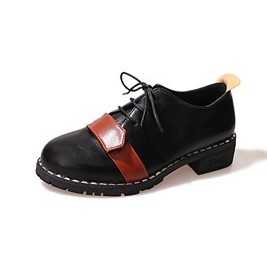 Damen Schuhe TPU Frühling Herbst Komfort Outdoor Walking Blockabsatz Schnürsenkel für Normal Schwarz Beige Hellbraun