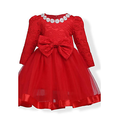 Girl's Birthday Daily Holiday Solid Floral Dress, Cotton Winter Fall Long Sleeves Floral Bow Lace Red