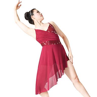 Ballett Kleider Damen Leistung Polyester Elasthan Pailletten Lycra Paillette Drapiert Rüschen Ärmellos Normal Kleid Kopfbedeckung