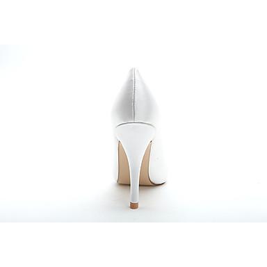 formelles 06173963 Volants Chaussures Printemps mariage Blanc Talon de Eté Satin Chaussures Mariage pointu Aiguille Chaussures Bout Femme aq4H1w