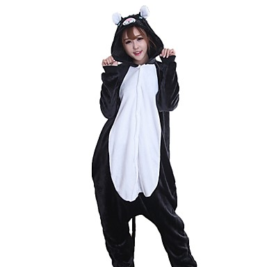 Adults' Kigurumi Pajamas Cat Mouse Onesie Pajamas Flannel Fabric Black Cosplay For Men and Women Animal Sleepwear Cartoon Halloween Festival / Holiday