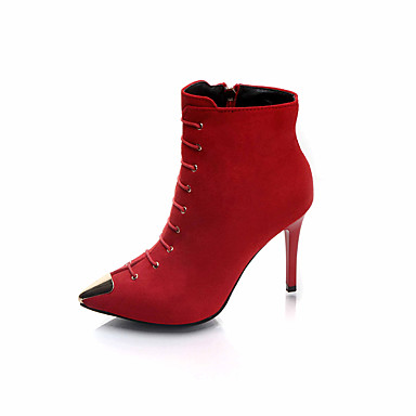 Women's Shoes Fabric Spring Fall Comfort Boots Stiletto Heel Booties / Ankle Boots for Black Red Green
