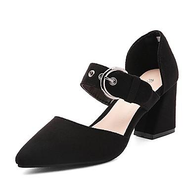 Damen Schuhe Kaschmir Frühling Komfort High Heels Walking Blockabsatz Spitze Zehe für Normal Schwarz Braun Armeegrün