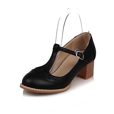 Damen Schuhe PU Sommer Pumps Sandalen Blockabsatz Runde Zehe Schnalle Für Normal Kleid Schwarz Beige Rosa