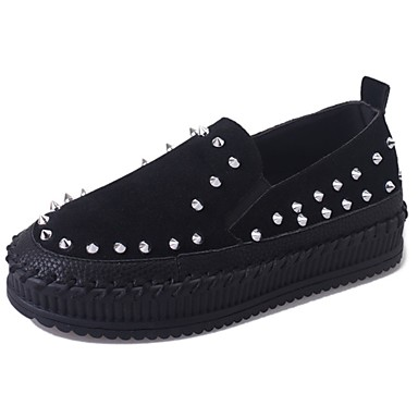 Women's Shoes Suede Fall Comfort Loafers & Slip-Ons Flat Heel Round Toe Rivet Black / Camel