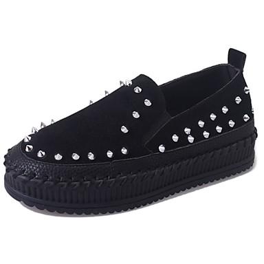 Women's Suede Fall Comfort Loafers & Slip-Ons Flat Heel Round Toe Rivet Black / Camel