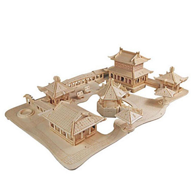 3D Puzzle Jigsaw Puzzle Famous buildings DIY Wood Natural Wood Chinese Style Kid's Unisex Gift