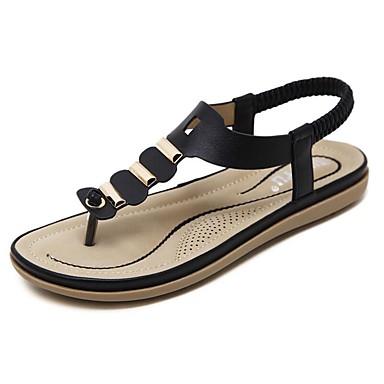 Női Mikroszálas Tavasz / Nyár Könnyű talpak Szandálok Lapos Erősített lábujj Bokacsizmák Kombinált Fekete / Kék / Mandula