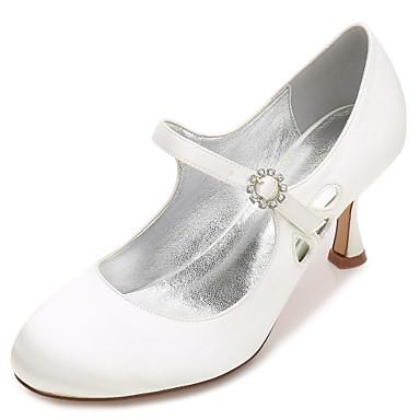 Női Cipő Szatén Tavasz Nyár Kényelmes Mary Jane Magasított talpú Esküvői cipők Cicasarok Alacsony Tűsarok Kerek orrú Strasszkő Glitter