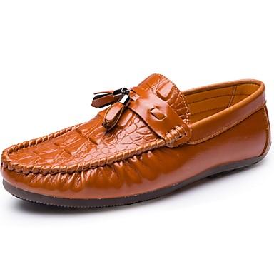 Férfi cipő PU Tavasz Ősz Kényelmes Papucsok & Balerinacipők mert Hétköznapi Fekete Barna Burgundi vörös