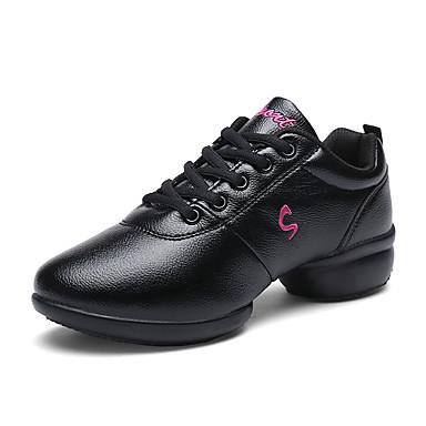 Women's Dance Sneakers Synthetic Microfiber PU Sneaker Splicing Chunky Heel Dance Shoes White / Black