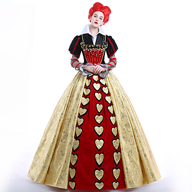Queen of Hearts Cosplay Costume Party Costume Masquerade Movie Cosplay Dress Petticoat Wig Christmas Halloween Carnival New Year Ssatin