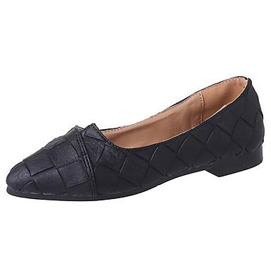Damen Flache Schuhe Komfort PU Frühling Sommer Normal Schwarz Beige Grau Flach