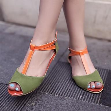 Damen Schuhe PU Sommer Komfort Flache Schuhe Niedriger Absatz Peep Toe Für Normal Beige Gelb Grün