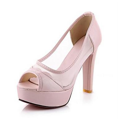 Damen Schuhe Tüll PU Sommer Komfort Gladiator Sandalen Für Normal Weiß Schwarz Blau Rosa